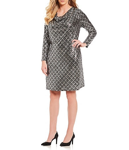 MICHAEL Michael Kors Plus Size Scallop Glitter Print Cowl Drape Back Dress