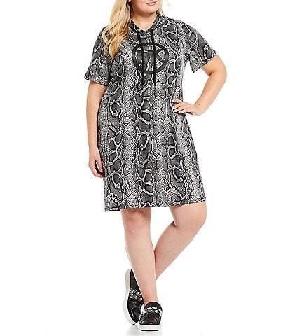 MICHAEL Michael Kors Plus Size Snakeskin Print Knit Jersey Circle MK Logo Crew Neck Short Sleeve Hoodie Dress