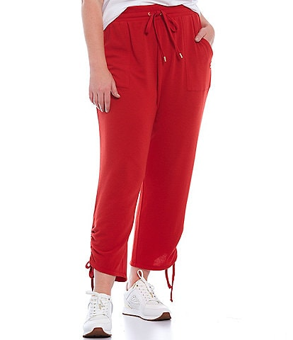 MICHAEL Michael Kors Plus Size Solid Brush Back Knit Terry Ruched Cozy Joggers
