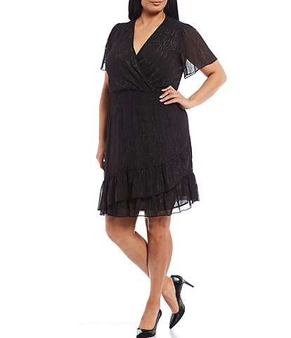 MICHAEL Michael Kors Plus Size Tonal Shimmer Crinkle Georgette Flutter Sleeve Faux Wrap Dress