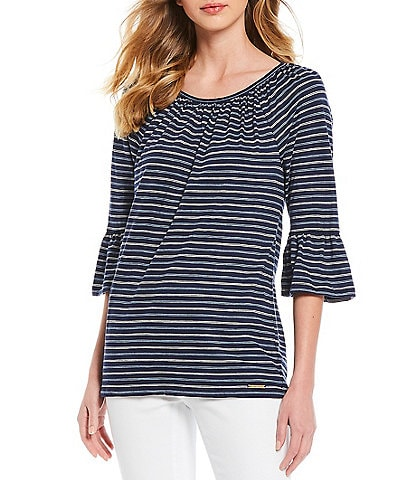 MICHAEL Michael Kors Railroad Stripe 3/4 Sleeve Gathered Peasant Top