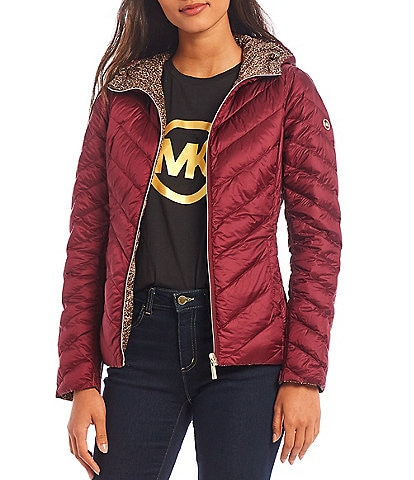 MICHAEL Michael Kors Reversible Packable Hooded Chevron Quilted Down Puffer