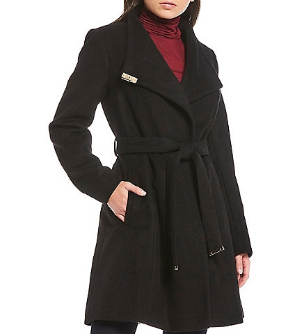 MICHAEL Michael Kors Shawl Collar Asymmetric Wrap Belted Wool Blend Coat