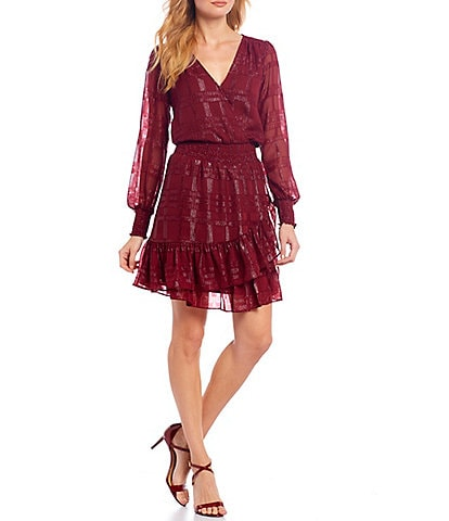 MICHAEL Michael Kors Shiny Plaid Sheer Clip Jacquard V-Neck Long Sleeve Faux-Wrap Dress