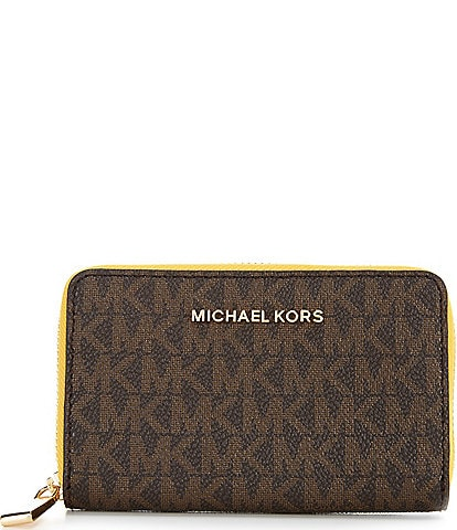 Michael Kors Signature Jet Set Small Zip Around Card Case
