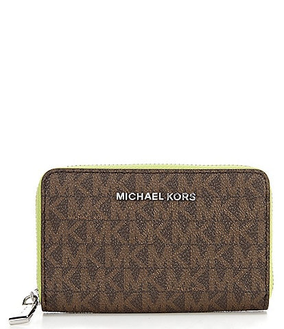Michael Kors Signature Jet Set Small Zip Around Card Case