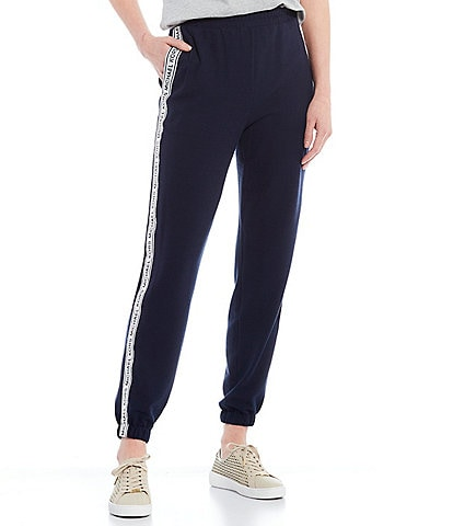 MICHAEL Michael Kors Slinky Waffle Knit Logo Tape Pull-On Ankle Sweatpants