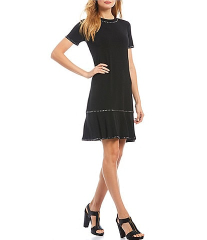 MICHAEL Michael Kors Solid Matte Jersey Stud Trim Short Sleeve Flounce Hem Dress