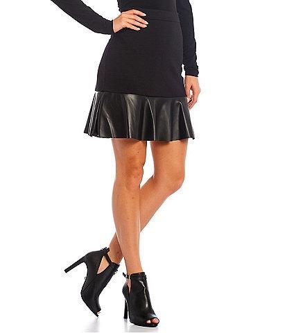 MICHAEL Michael Kors Solid Ponte Faux Leather Flounce Hem Mini Skirt