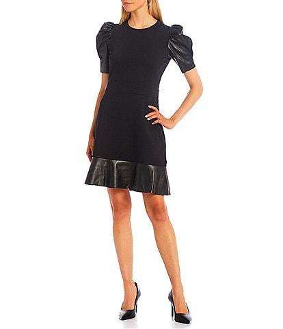 MICHAEL Michael Kors Solid Ponte Round Neck Vegan Leather Trim Short Puff Sleeve Dress