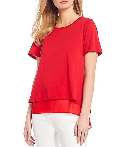 MICHAEL Michael Kors Solid Short Sleeve Split Back Layered Hem Tunic Top