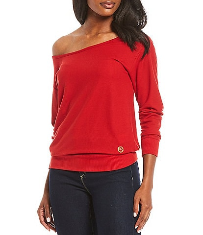 MICHAEL Michael Kors Solid Slinky Waffle Knit Asymmetrical Neckline Off-Shoulder Long Sleeve Top