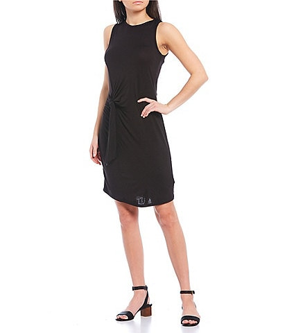 MICHAEL Michael Kors Solid Stretch Jersey Crew Neck Side Tie Waist Dress