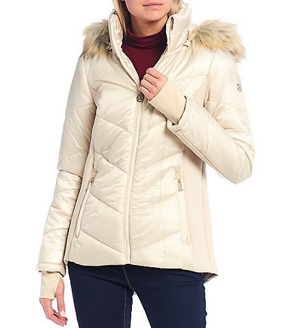 MICHAEL Michael Kors Stand Collar Water Resistant Puffer Coat with Faux Fur Trimmed Hood