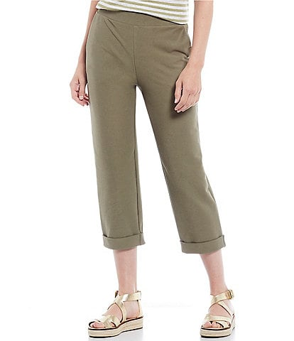 MICHAEL Michael Kors Stretch Knit Twill Pull-On Roll Cuff Crop Pants