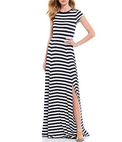 Womens Ladies Spaghetti Strap Sleeveless Striped Jersey Side Front Maxi Dress