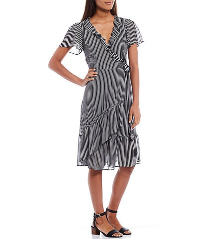 MICHAEL Michael Kors Stripe Print Georgette Flutter Sleeve Ruffle Midi Wrap Dress