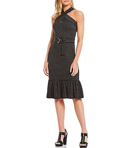 MICHAEL Michael Kors Stripe Yarn Dye Jacquard Halter Neck D-Ring Belted Dress
