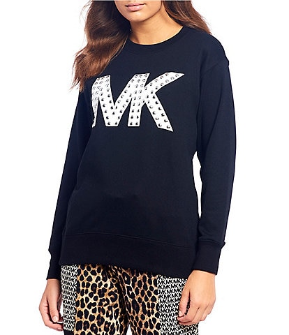 MICHAEL Michael Kors Stud Embellished Logo French Terry Cotton Blend Boyfriend Sweatshirt