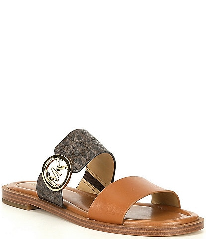 MICHAEL Michael Kors Summer Logo Coated Leather Sandals