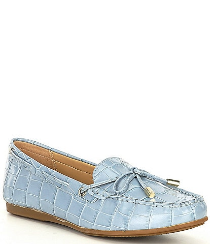 MICHAEL Michael Kors Sutton Croco Embossed Leather Moc Loafers