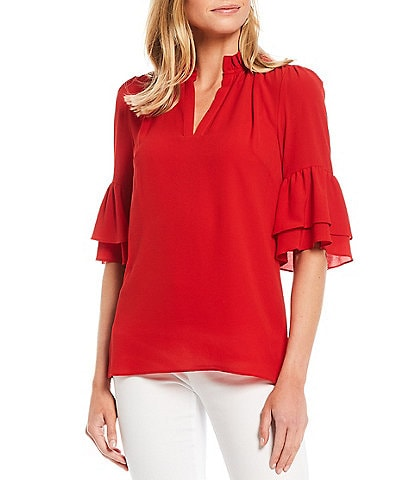 MICHAEL Michael Kors Textured Crepe Flounce Cuff Ruffle Trim V-Neck Top