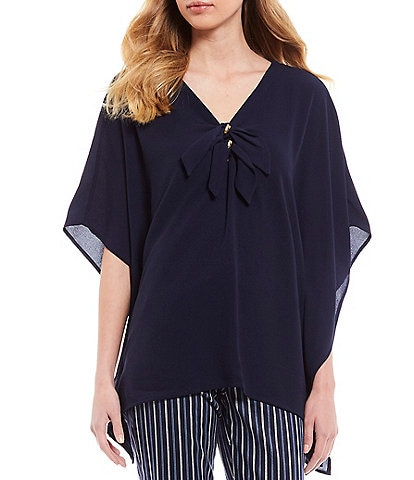 MICHAEL Michael Kors Textured Stretch Crepe Hardware Tie V-Neck Detail Poncho Top