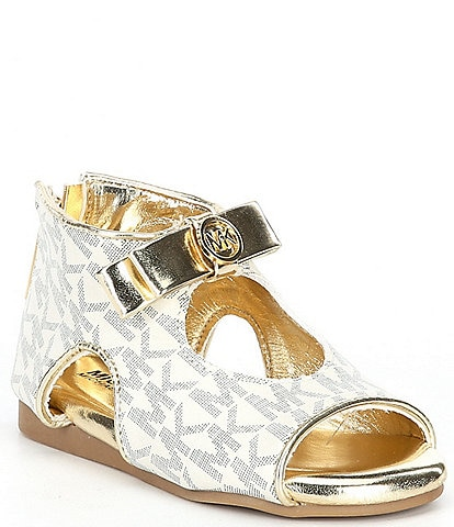 MICHAEL Michael Kors Tilly Dahnia 3 Bow Detail Logo Print Sandals (Infant)