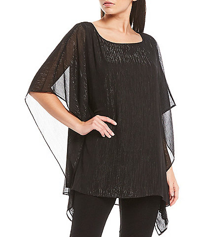 MICHAEL Michael Kors Tonal Shimmer Crinkle Georgette Square Neck Poncho Top