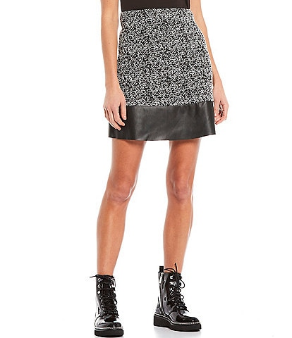 MICHAEL Michael Kors Tweed Jacquard Faux Leather Trim Hem Mini Skirt