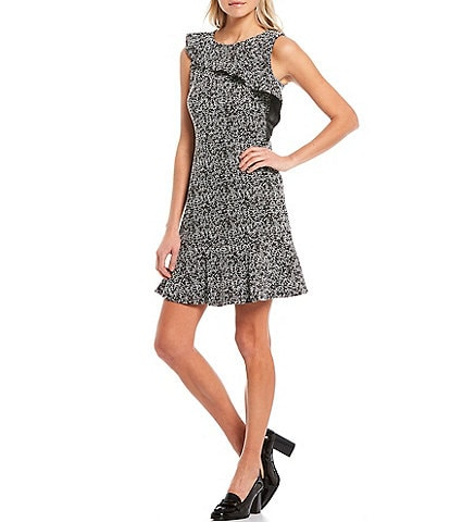 MICHAEL Michael Kors Tweed Jacquard Scoop Neck Asymmetrical Flounce Detail Sleeveless Dress
