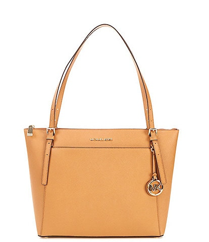 Michael Kors Voyager Large East West Top Zip Leather Tote Bag