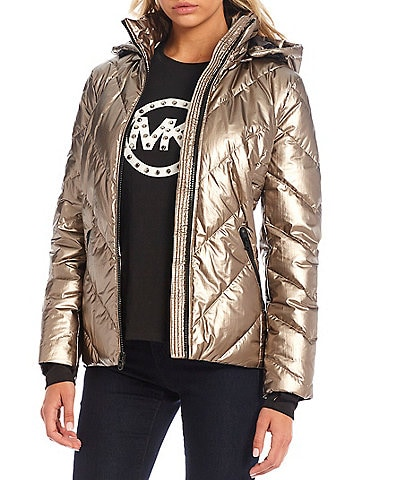 MICHAEL Michael Kors Water Repellent Chevron Quilted Hooded Down Puffer Long Sleeve Coat