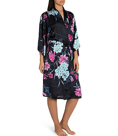 Midnight Bakery Floral Print Satin Kimono Long Wrap Robe