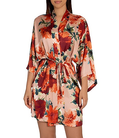 Midnight Bakery Floral Printed Satin Short Wrap Robe