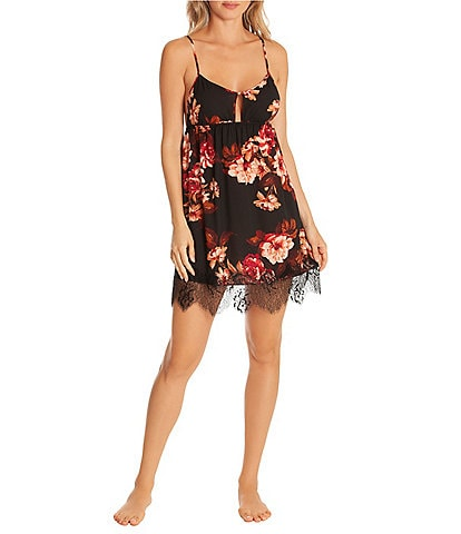 Midnight Bakery Laveau Floral-Print Stretch Satin Chemise