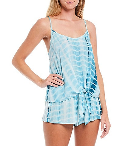 Midnight Bakery Tie-Dye Print Woven Top and Shorts Pajama Set