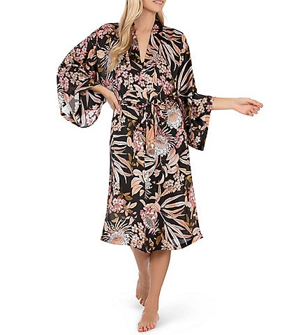 Midnight Bakery Tropical Print Long Kimono Satin Wrap Robe