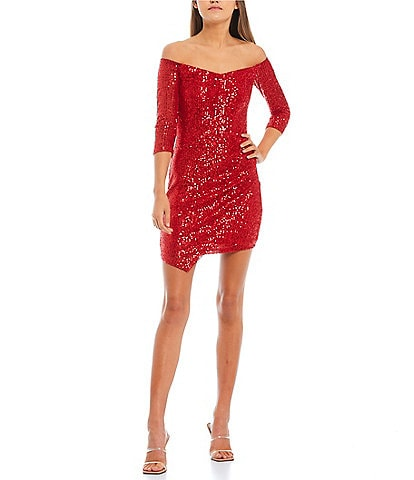 Midnight Doll 3 /4 Sleeve Off-the-Shoulder Sequin Asymmetrical Faux-Wrap Dress