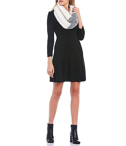 Midnight Doll 3/4 Sleeve Color-Block Scarf A-Line Sweater Dress