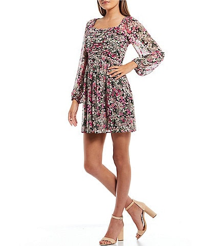 Midnight Doll Bubble Long-Sleeve Ruched Floral Print Chiffon Fit-and-Flare Dress