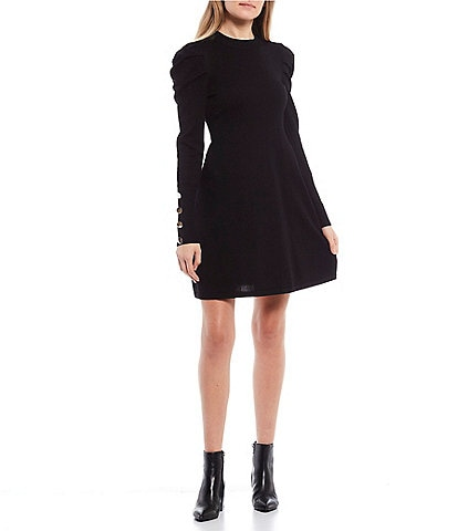 Midnight Doll Button Detail Puff-Sleeve A-Line Sweater Dress