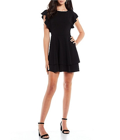Midnight Doll Flutter-Sleeve Double-Hem Fit-And-Flare Dress