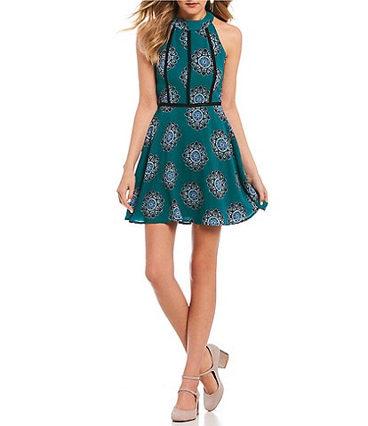 Midnight Doll High-Neck Printed Fit-And-Flare Dress