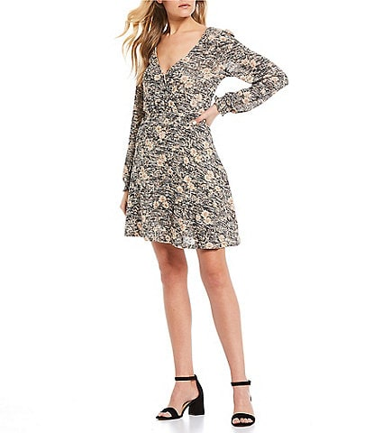 Midnight Doll Long Sleeve Floral Print Hacci Dress