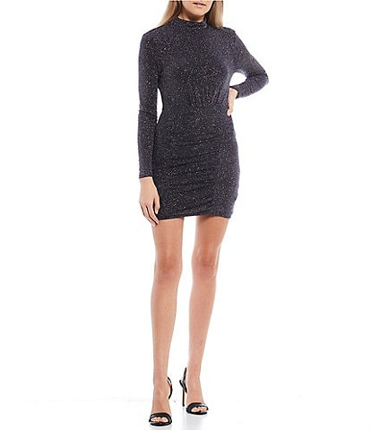 Midnight Doll Long-Sleeve Mock-Neck Metallic Glitter Knit Dress