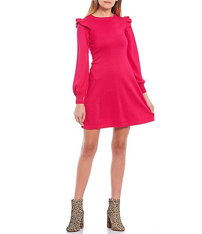 Midnight Doll Long-Sleeve Ruffle Detail Sweater Dress