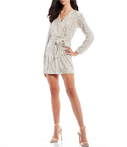Midnight Doll Long-Sleeve Sequin-Embellished Mesh Faux-Wrap Dress