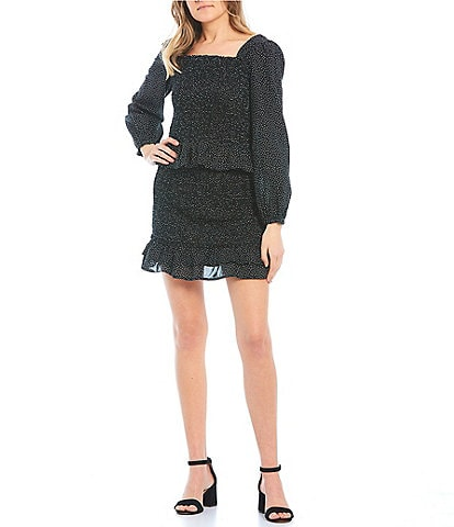 Midnight Doll Long-Sleeve Square-Neck Smocked Two-Piece Dress