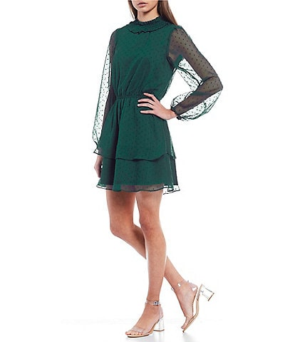 Midnight Doll Mock-Neck Chiffon Tiered Hem Skater Dress